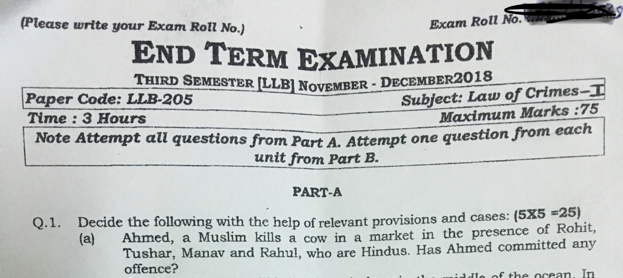 Communal Question about Cow Slaughter in Exam Paper sparks